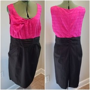 Dressbarn fushia/black Cummerbund Dress 18